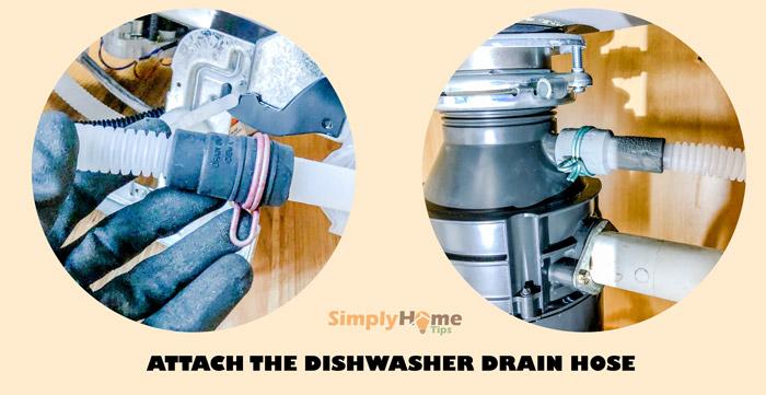 Attaching the dishwasher drain hose