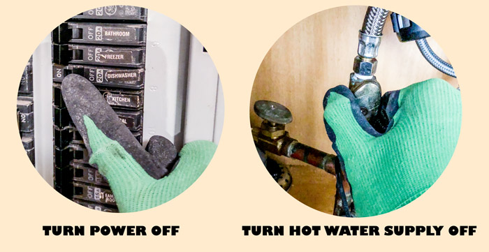 Turn off the electric power and hot water supply