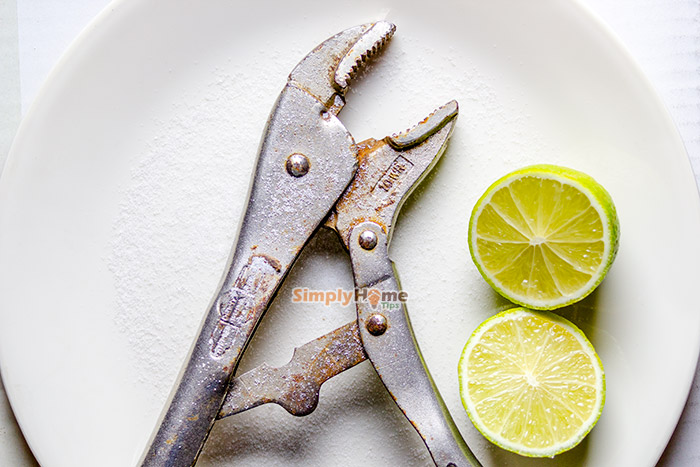 Clean rusty tools with lemon juice and salt