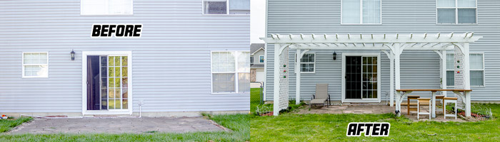 Before and after added a pergola